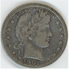 1901-O BARBER QUARTER DOLLAR ~ AN ALL WHITE BEAUTY ~ F CONDITION ~ 1c START