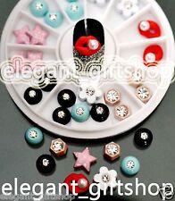 6 Pattern 3D Nail Art Tips  Decoration Glitter Alloy Jewelry + Wheel #EJW_20