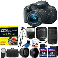 Canon EOS Rebel T5i 700D Body + 4 Lens Kit 18-55 STM +75-300 + 24GB SD CARD KIT