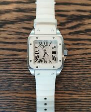 Cartier Santos 100 Stainless Steel White Rubber Ladies Watch