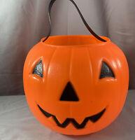 Halloween Plastic Blow Mold  Pumpkin Candy Pail Bucket Empire orange 1980 Vtg
