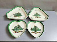 Lot of 4 England  SPODE Christmas Tree Heart Trinket Dish & Bowls