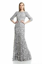 Theia Silver Nickel Petal-embellished Satin Gown - NWT Size 18 $1,295