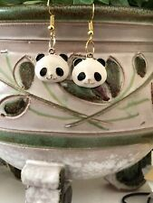 Panda Bear Earrings Drop Dangle Hook