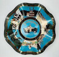 Walt Disney World Candy Dish Ruffled Glass Castle Parks Resort Blue Gold Vintage