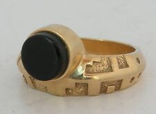 Modernist Native American, Navajo Yellow gold 14k, Black Onyx ring - Ray Tracey
