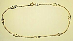 """Estate Vtg 14K Gold INFINITY Link 10""""  Anklet Ankle Bracelet Dainty Curb Chain"""