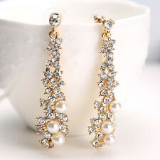 Long Crystal Drop Earrings Diamante Bridal Pearl Rhinestone Gold Dangle Party UK