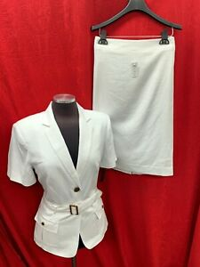 JOHN MEYER SKIRT SUIT /RETAIL$240/SIZE 16/WHITE /NEW WITH TAG/LINED/LINEN/RAYON