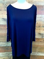 New~MOLLY & ISADORA 2X Women's Plus Dark-Blue 3/4-Open-Sleeve Stretch Top Blouse