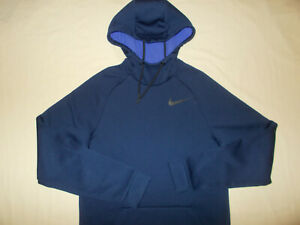 NIKE DRI-FIT NAVY BLUE HOODED SWEATSHIRT MENS SMALL EXCELLENT CONDITION
