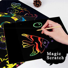10 Sheets Magic Scratch Art Painting Paper w/Drawing Stick Kids Funny Toy 16K