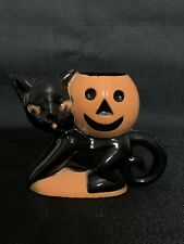 New ListingRosbro Hard Plastic Black Cat & Pumpkin Halloween Candy Container Vintage #1