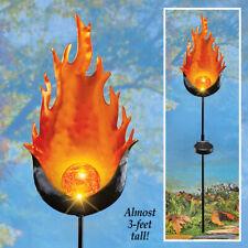 3 Foot Tall Unique Solar Powered Flame Orange Gazing Ball Garden Stake