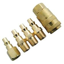 5pc BRASS COATED AIR HOSE COUPLER CONNECTOR FITTING SET