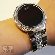 Hip Hop Iced Out Digital Touch Screen Silver PT Lab Diamond Smart Metal Watch