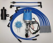 small cap OLDSMOBILE 350,400,403,455 BLUE HEI Distributor +Black Coil+PLUG WIRES