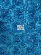 "ROSETTE STYLE TAFFETA FABRIC - Turquoise - 52"" WIDTH BY YARD WEDDING GOWN DRESS"