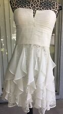 Hailey Logan Adrianna Papell Juniors Ivory Lace Strapless Dress Sz 9/10 (327)