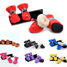 4pcs Waterproof Pet Dog Winter Spring Warm Snow Booties Anti-Slip Boots Shoes