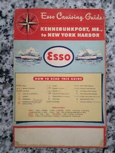 Kennebunkport Maine to New York ESSO CRUISING GUIDE Vtg Maritime Map 1957 Gas