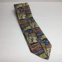 """Men's Novelty Ties - """"Character Counts"""" Flag Necktie 100%silk Multi Color Tie"""