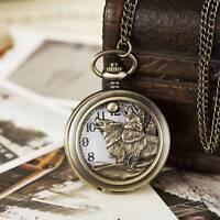Vintage Cute Dog Hollow Quartz Pocket Watch For Women Men Bronze Necklace Chain