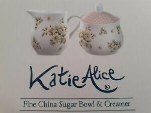 Katie Alice Fine China Sugar Bowl & Creamer