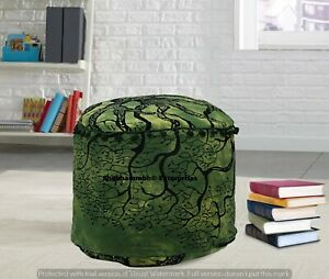 Indian Green Tree Of Life Round Ottomans Handmade Cushion Cover Boho Footstools