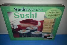Sushi Book & Kit Includes color book, chopsticks, bamboo rolling mat NEW
