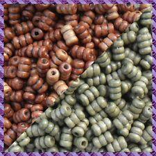 100 Perles Legno Tubo 2 coloris Marrone Scurire / Cachi