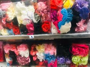 JOBLOT FLOWER HAIR BAND ( PACK OF 12 MIXED COLOURS ) IN 1 BOX (A) **BRAND NEW**