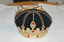 VINTAGE RARE BRACCIALINI HANDBAG GENUINE LEATHER CROWN DESIGN