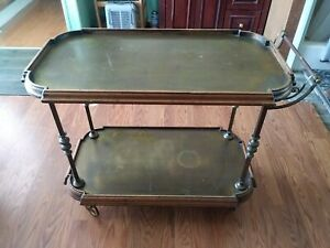 Vintage Brass wood Tea Cart Bar trolley Art Deco made in Italy
