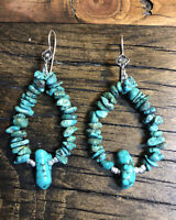 #1161 Jocla Turquoise Earrings, Navajo Concho Sterling Silver Wires