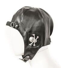 Black Metal Skull Ear Vinyl Aviator Pilot Motorcycle Cap Vintage WWII Hat