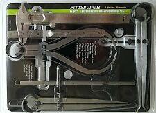 TECHNICAL MEASURING SET STEEL  Ruler, Divider, Calipers Depth Gauge, 6 Pieces