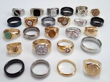25 Vintage Mod Mens Signet Band Gemstone Tungsten Gold Fill GP Silver Ring Lot