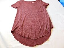 Hollister Must Have Collection Womens Juniors Short Sleeve T shirt XS Burgandy--