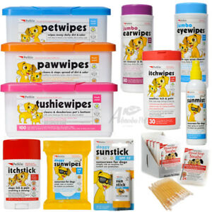 PetKin Dog & Cat Range Tushie Paw Pet Itch Eye Ear Wipes Blood Stop Sun Screen