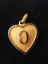 Pendentif Coeur Médaillon en Or Plaqué Lettre O 2 cm