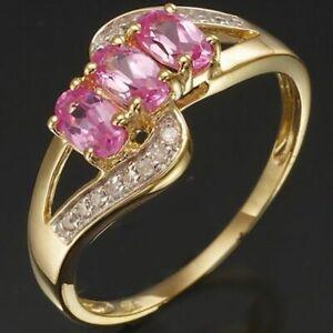 Jewellry Size 10 Luxury Pink Sapphire Women 18K Gold Filled Emerald Cut Rings