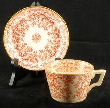Antique Victorian Minton Tea Cup Saucer Fibre Red Seaweed Design