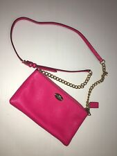 Coach Hot Pink Magenta Leather Crossbody Gold Chain Small Purse