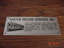 Kasten Railcar Services Builders Plate Private Car