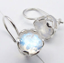 925 Silver Classic RAINBOW MOONSTONE FRENCH HOOK CAGE Setting Earrings 0.7 Inch