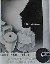 PUBLICITE GIBBS CREME ET POUDRE DE BEAUTE SIGNE GREIF DE 1929 FRENCH AD ART DECO