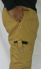 Men's Solids Four Pocket Cargo Pants, Shorts, 3/4th, Casual Wear -Dark Gold