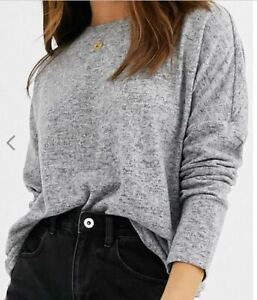 NEW! SALE! ASOS! JDY brushed knitted sweater in light grey mela Size L