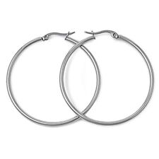 14K White Gold GP Rounded 40mm Hoop Earrings S72